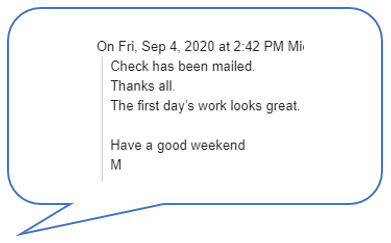 Comment from the client 9.4.2020