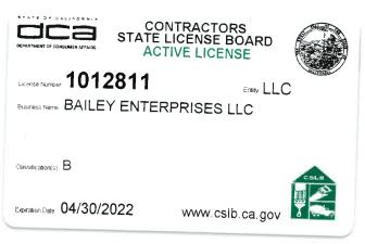 Contractors State License Board Active License