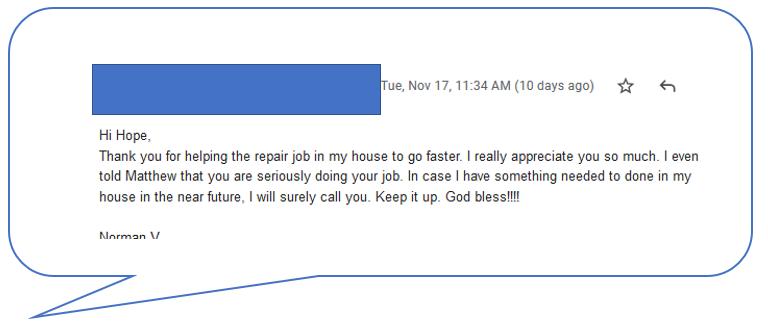 customer comment Nov 11