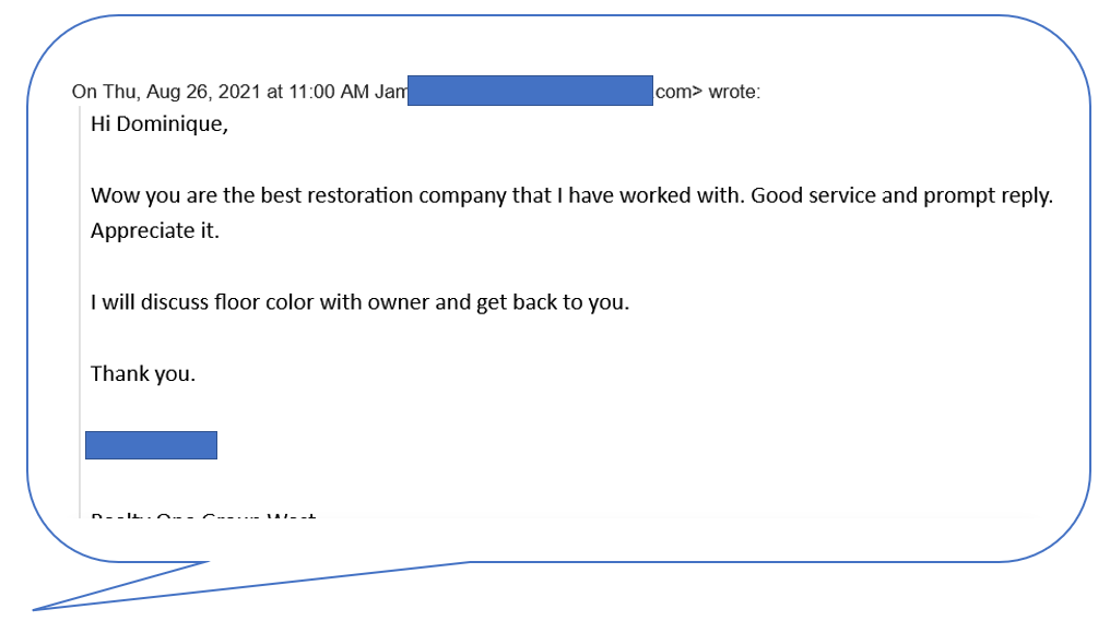 Compliment from leasing agent for the homeowner